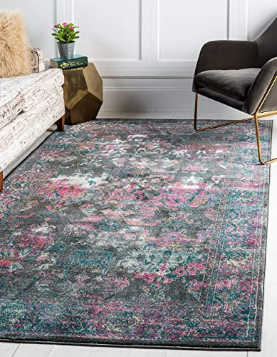 Unique Loom Aurora Collection Floral Vintage Over-Dyed Gray Area Rug 8 0 x 10 0