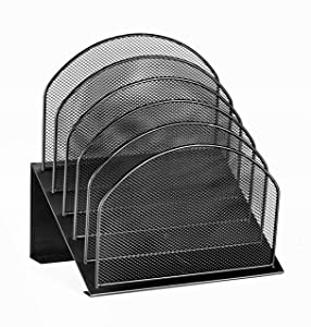 AdirOffice Mesh 5 Slot Section Desk Organizer Sorter - Desktop Incline Caddy (Black)