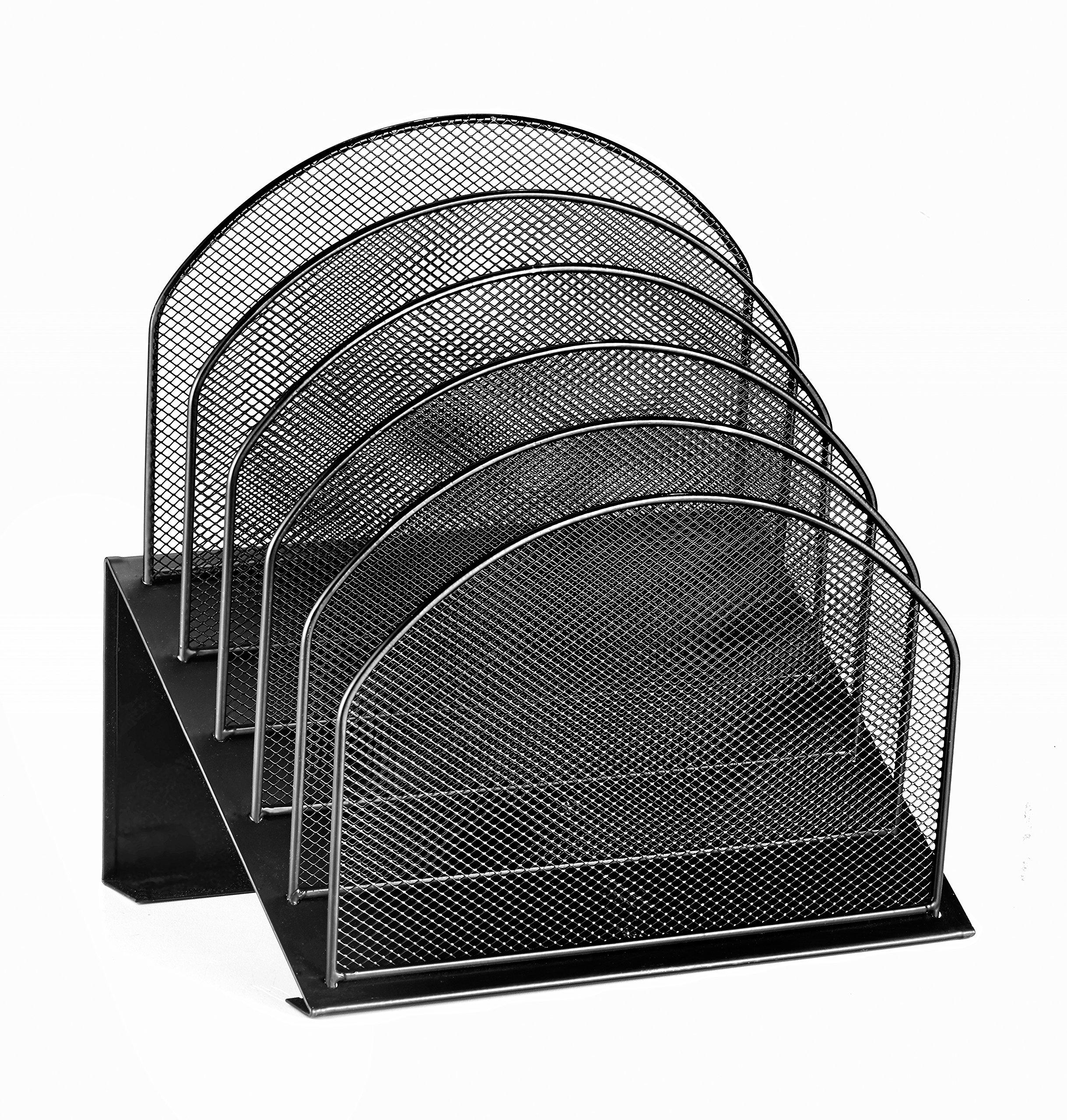 AdirOffice Mesh 5 Slot Section Desk Organizer Sorter - Desktop Incline Caddy (Black)
