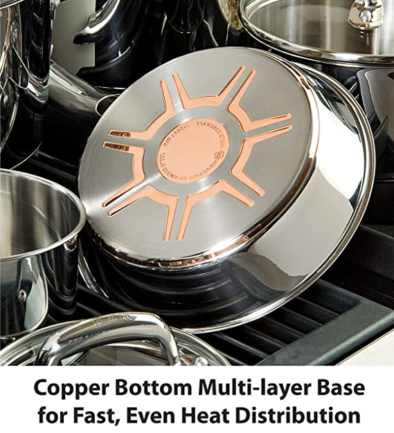 T-fal C836SC Ultimate Stainless Steel Copper Bottom Cookware Set