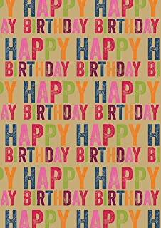 Happy Birthday Kraft Wrapping Paper 4 XL Sheets
