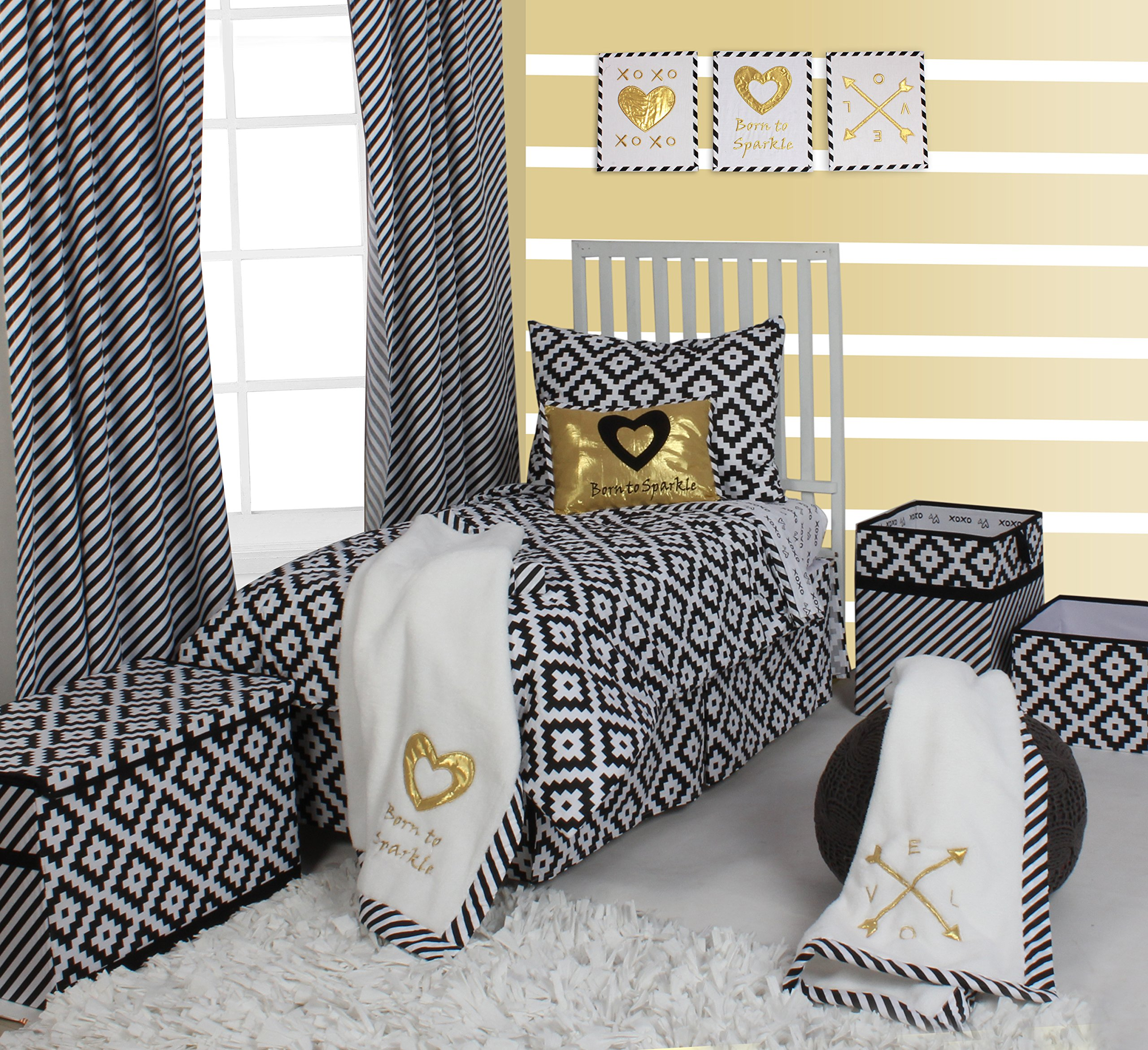 Bacati Love Unisex 4 Piece Toddler Bedding Set, Black/White