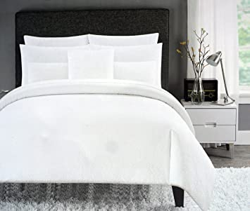 Cynthia Rowley Bedding 3 Piece Full Queen Duvet Cover Set Solid White Retro Textured Ruched
