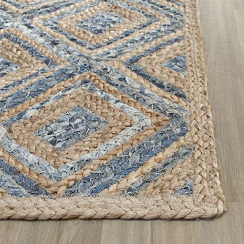 Safavieh Cape Cod Collection CAP354A Hand Woven Flatweave Diamond Geometric Natural and Blue Jute Area Rug 3 x 5