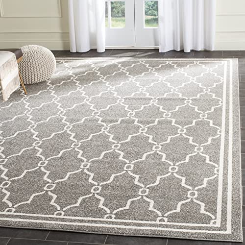Safavieh Amherst Collection AMT414R Dark Grey and Beige Indoor/ Outdoor Square Area Rug
