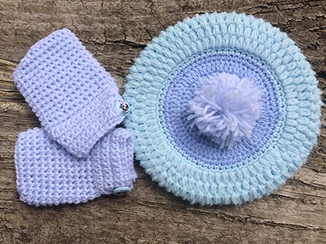 24072210583 Amazon.com  Blue Baby Hat and Mitts Set. Baby Beret with Pom-Pom for 0-3  Months Old Baby. Free Shipping  Handmade