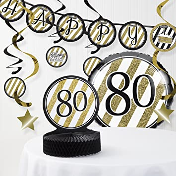 Amazon Black And Gold 80th Birthday Decorations Kit Health