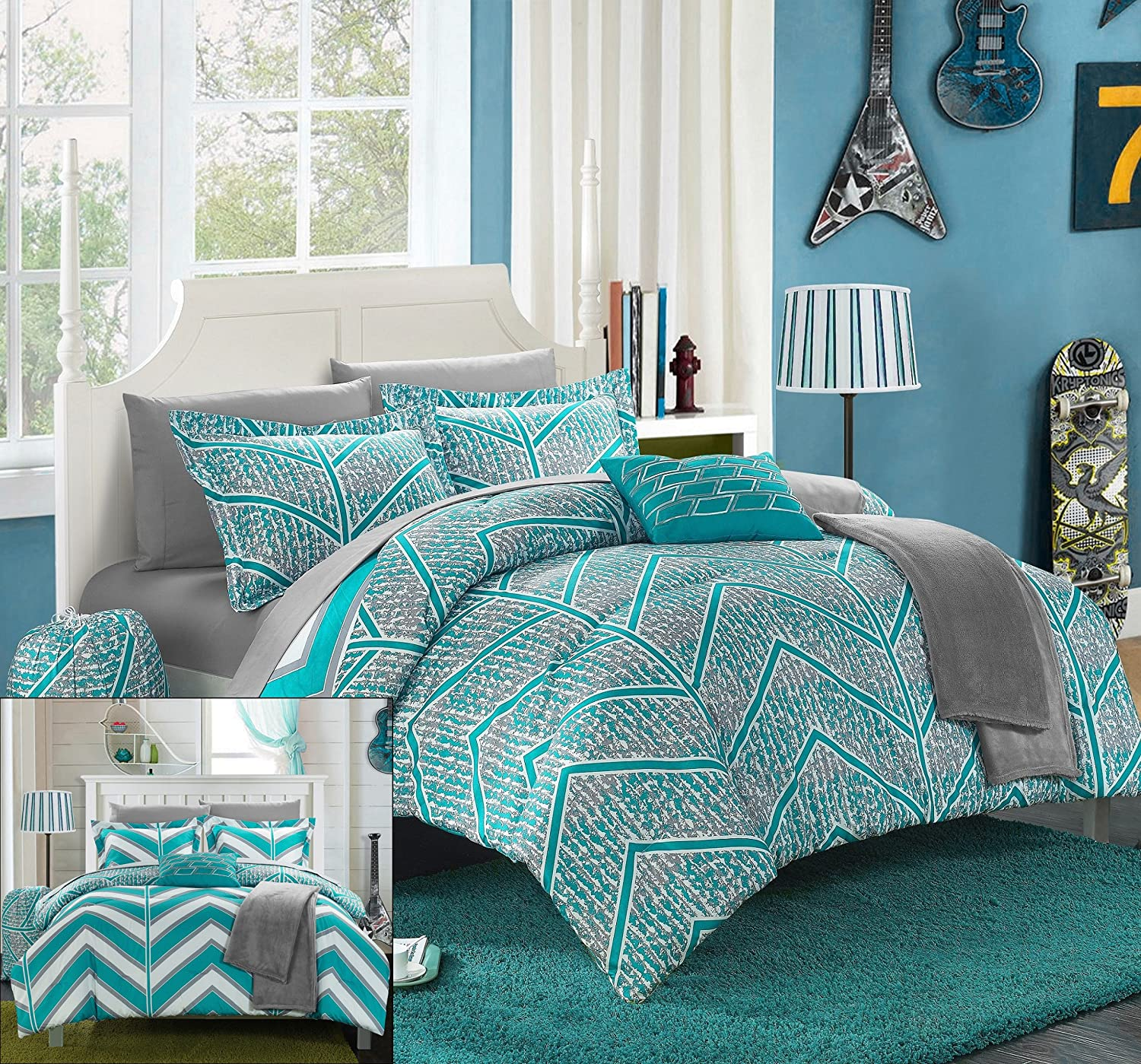amazoncom chic home 10 piece laredo chevron and geometric printed reversible comforter sheet set full aqua home u0026 kitchen