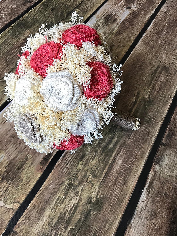 Amazon Com Coral Natural Ivory Bridal Bouquet Choose Size