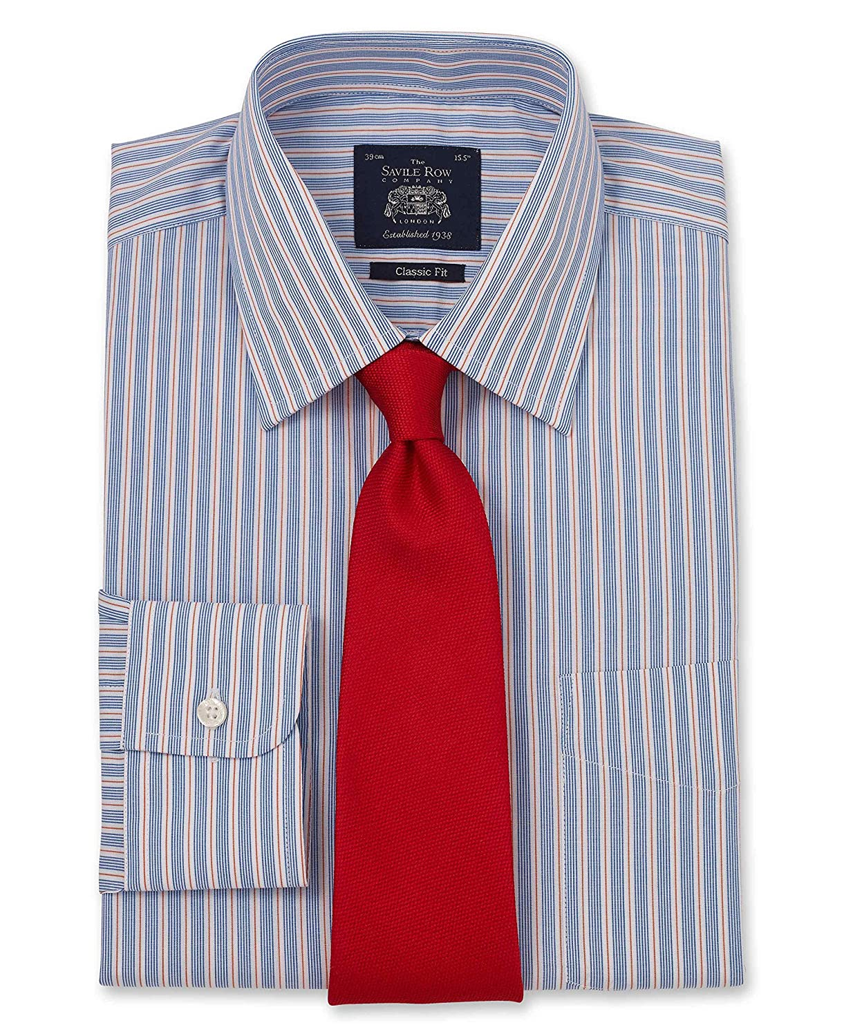 TALLA 15 Standard. Savile Row Men's Navy Red Multi Stripe Classic Fit Shirt - Single Cuff