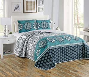 Better Home Style 3 Piece Floral Medallion Design Luxury Lush Soft Flowers Printed Design Quilt Coverlet Bedspread Oversized Bed Cover Set # Diana (Turquoise, King/Cal-King)