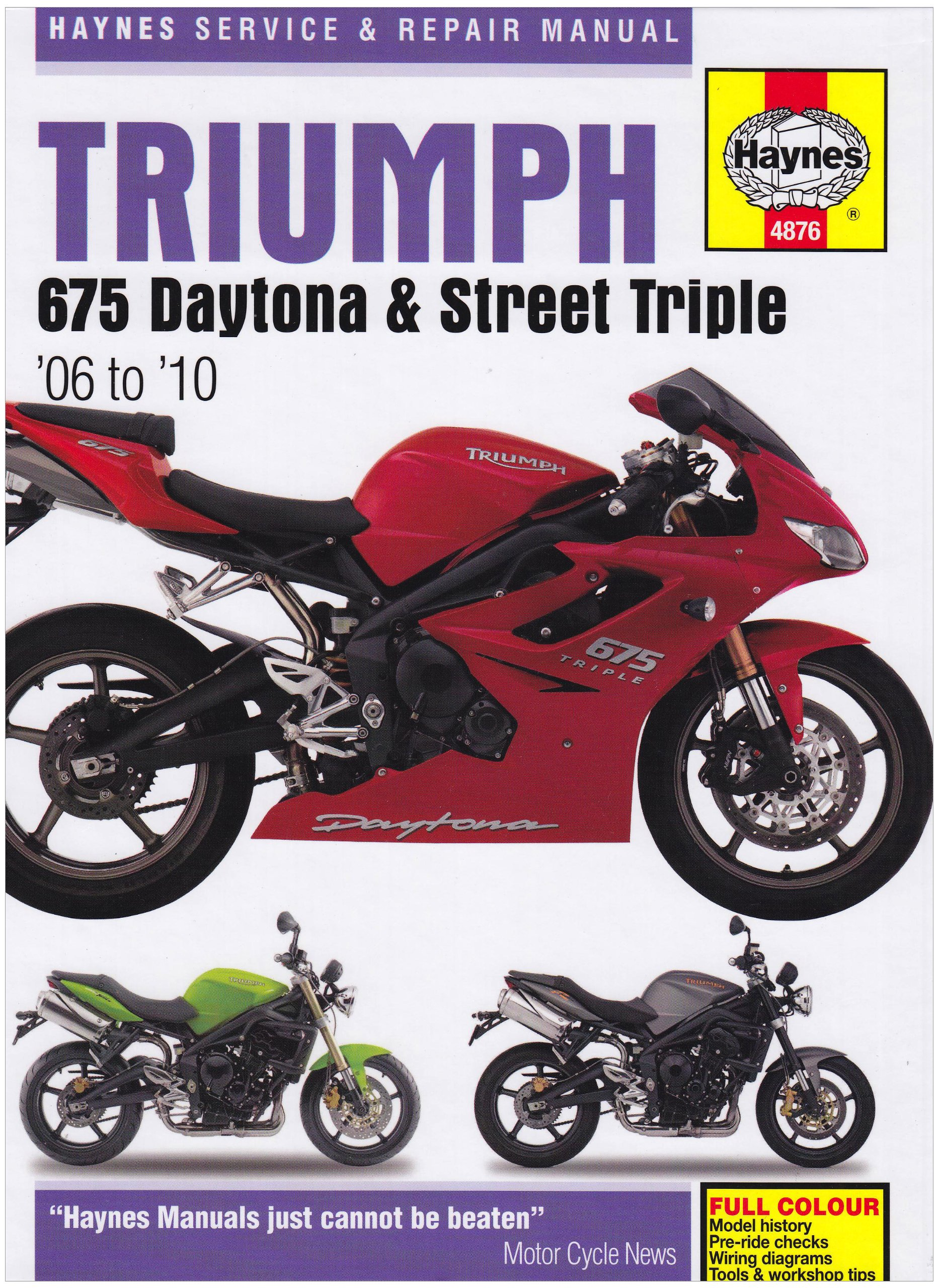 Triumph 675 Daytona and Street Triple Service and Repair Manual: 2006 to  2010 (Haynes Service and Repair Manuals): Matthew Coombs: 9781844258765: ...