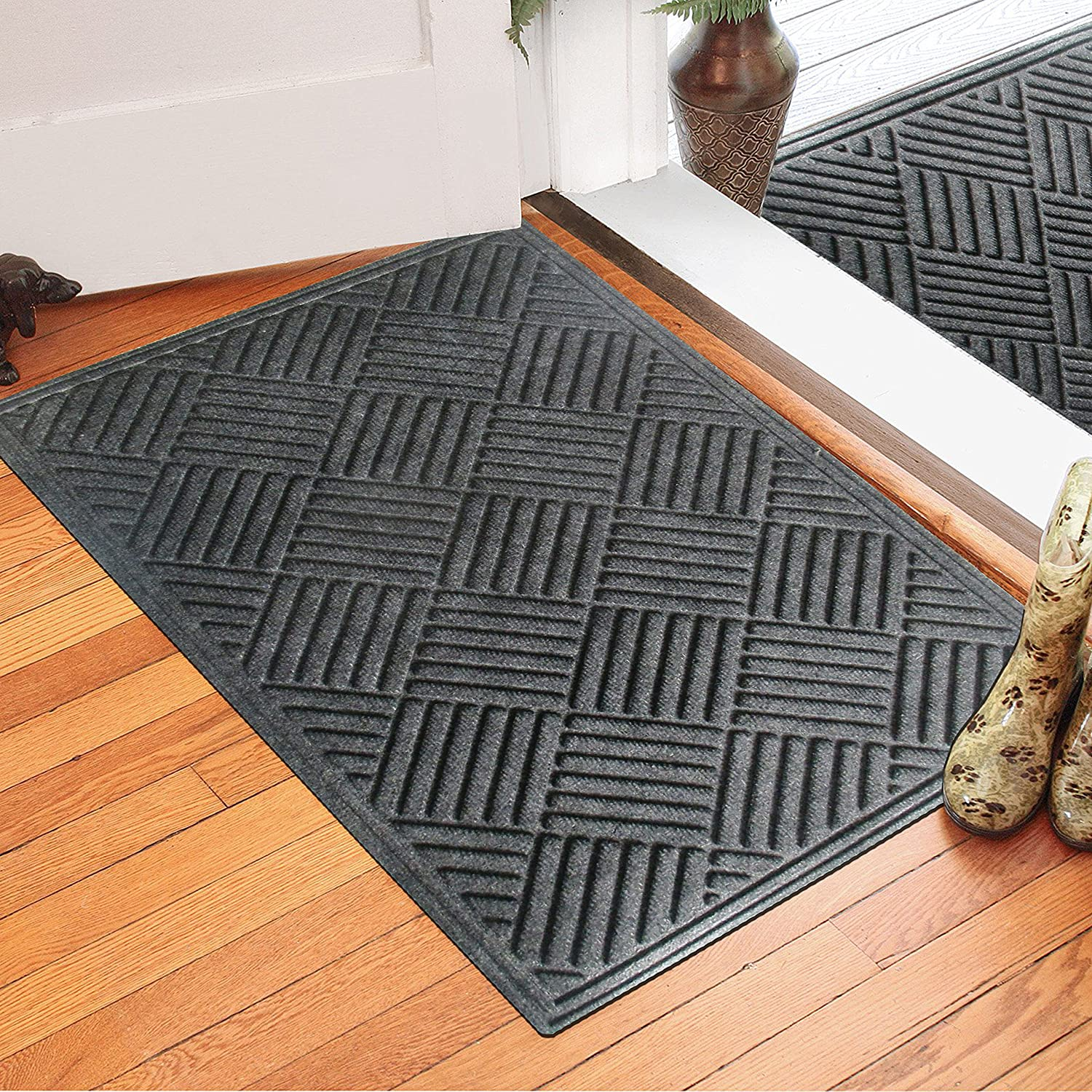 EHC Rubber Polypropylene Non-Slip Indoors or Outdoor Dust & Water Retaining Door Mat, 60 X 90cms- Grey Elitehousewares