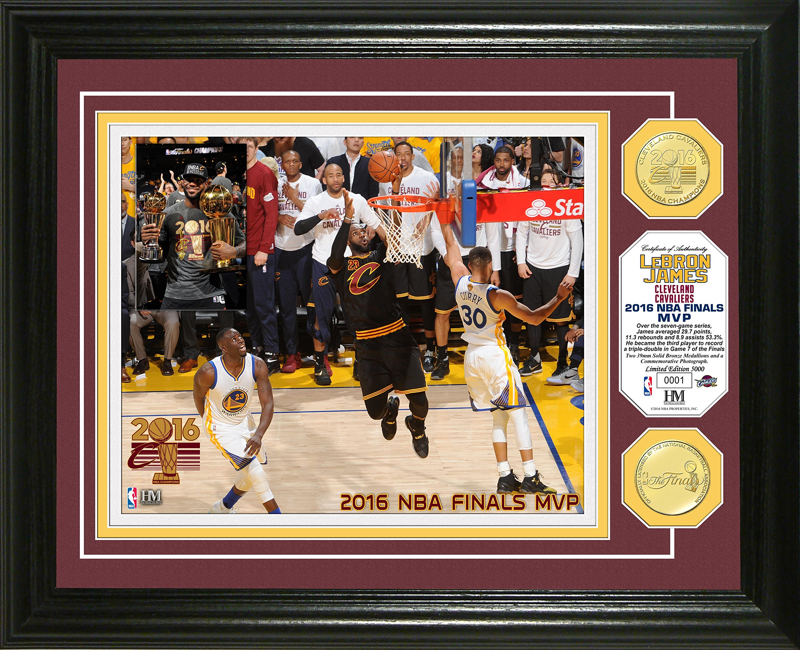 NBA Cleveland Cavaliers 2016 Finals''MVP'' Coin Photo Mint, 17'' x 14'' x 3'', Bronze
