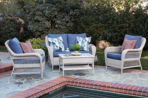Quality Outdoor Living 65-51018D Seacrest All-Weather 4 Piece Deep Seating Set, White Wicker Blue Cushions