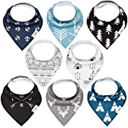 Baby Bandana Drool Bibs for Teething Newborns and Toddlers (8 Pack), Unisex Dribble Scarf for Boys & Girls, Organic Cotton and Waterproof Polyester Back, Ultra Absorbent and Hypoallergenic by Kiidbe