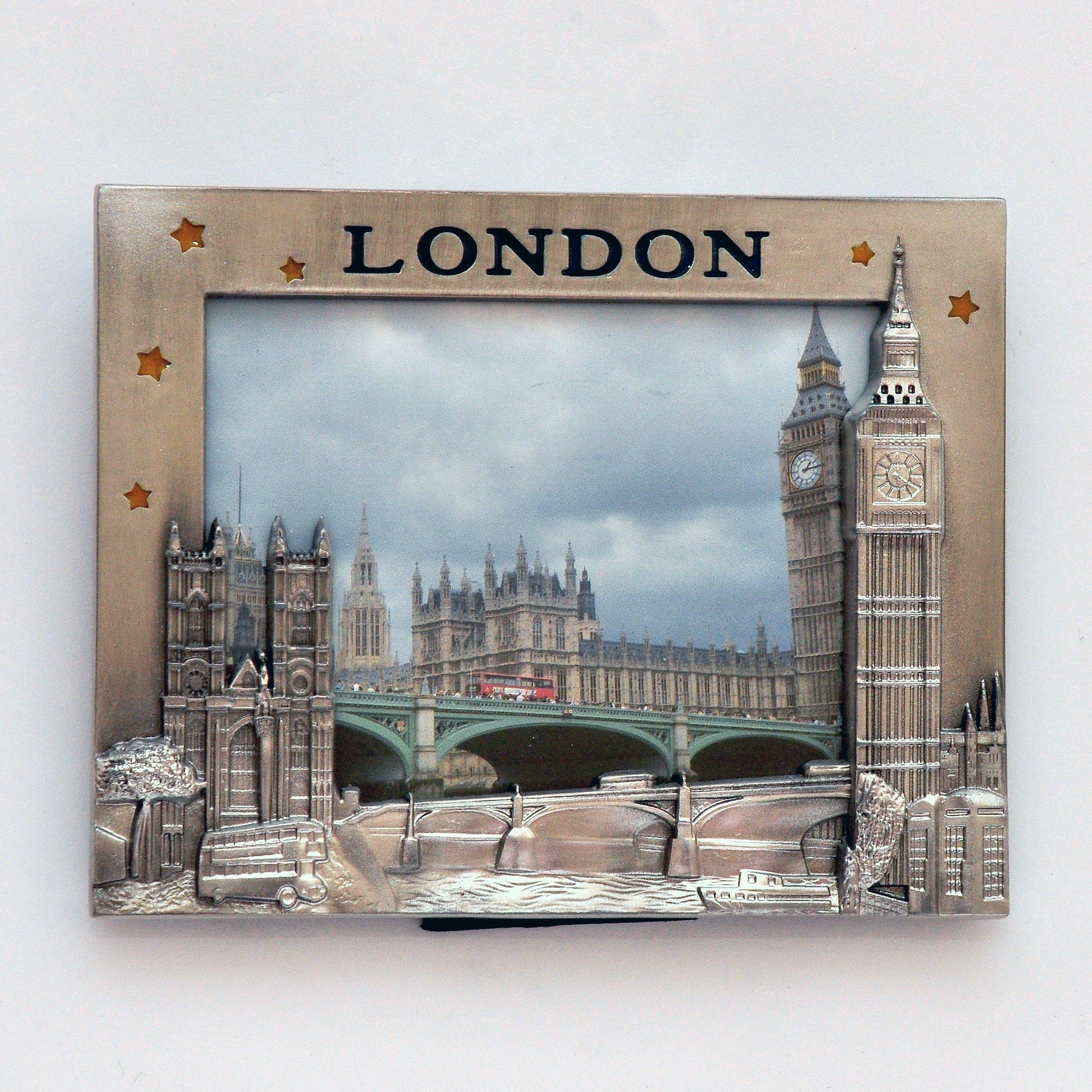 I Love London Photo Frame - Metal Photo Frame - London Souvenir Photo Frame - London Icons Metal Photo Frame - Big Ben, Tower Bridge London Eye Photo frame + LONDON ICONS PHOTO FRAME CUM FRIDGE MAGNET by London Souvenirs (Image #1)