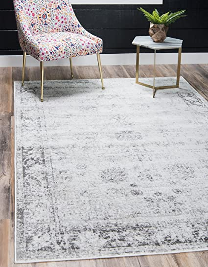 Amazon Com Unique Loom 3134033 Sofia Collection Traditional Vintage Beige Area Rug  Rectangle Gray Kitchen Dining