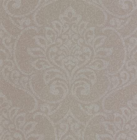 BHF DL22836 Lupus Taupe Metallic Damask Wallpaper