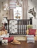 Sweet Potato Happy Trails Quilt, Emblem Print Sheet and Crib Skirt, Brown/Cream/Blue