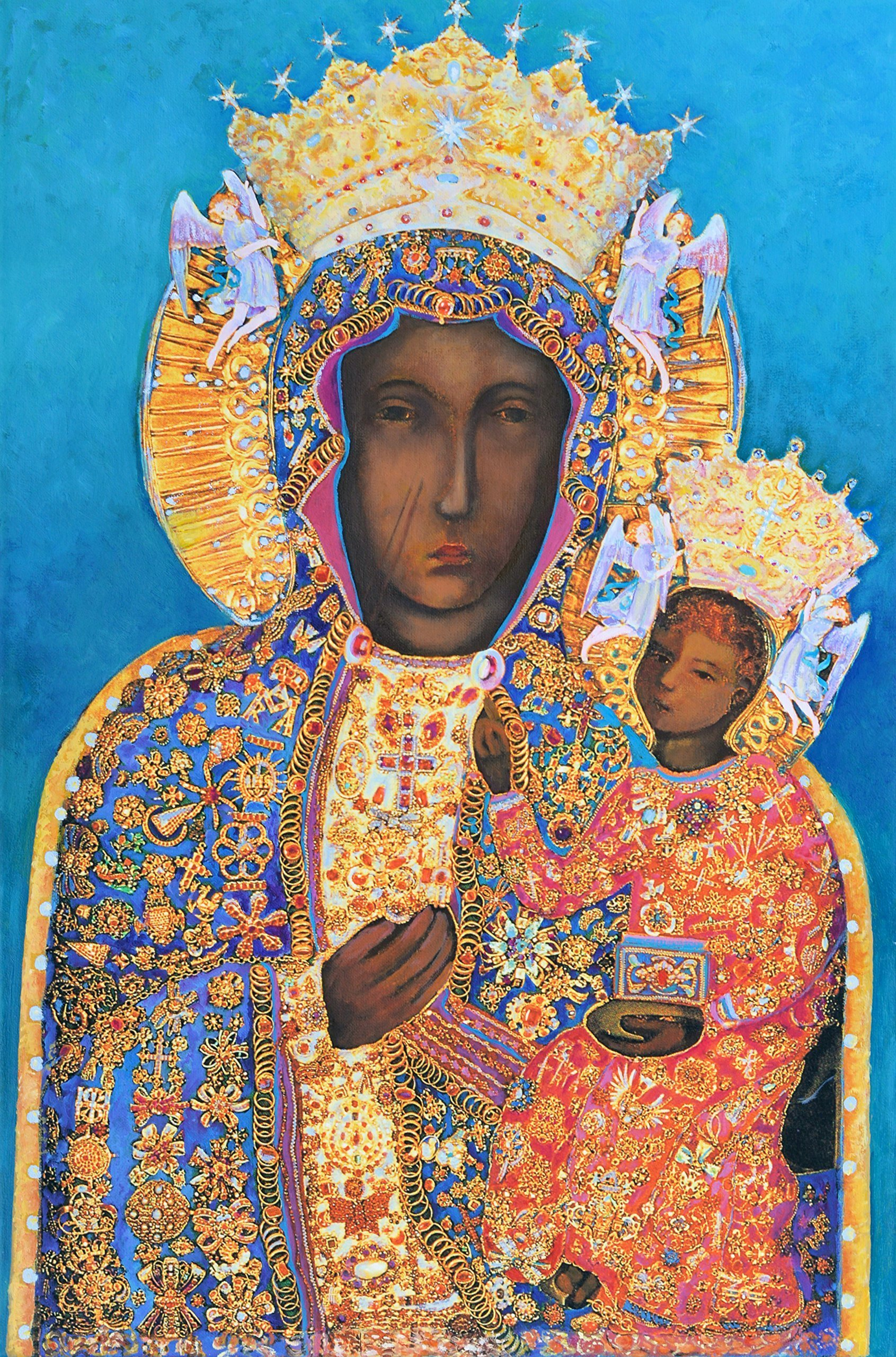 Our Lady of Czestochowa Polish Black Madonna Virgin Mary and Child Original Genuine Hand Painted OOAK One Of a Kind by SmartPolonia