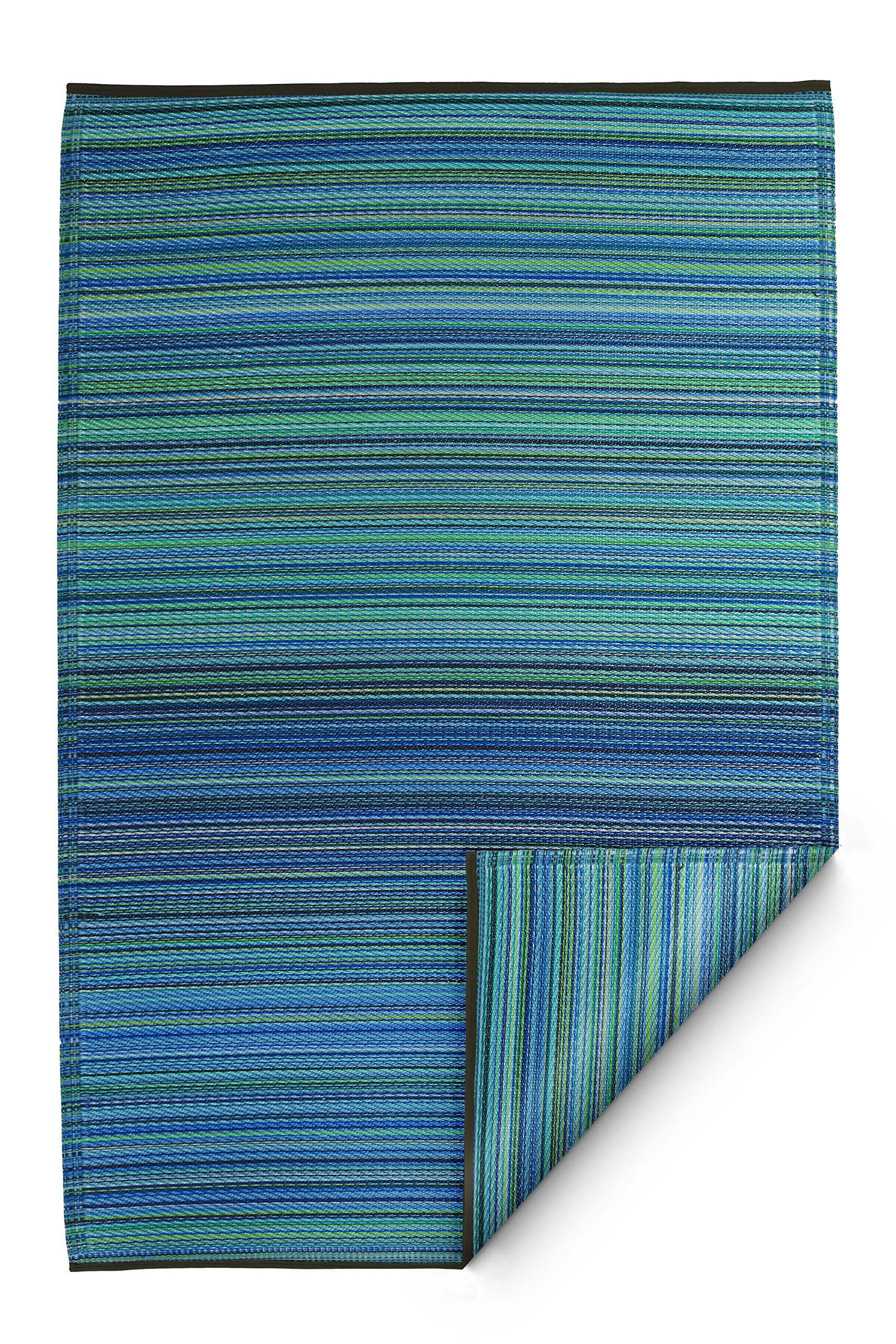 Fab Habitat Cancun Indoor/Outdoor Rug, Turquoise and Moss Green, 8' x 10'