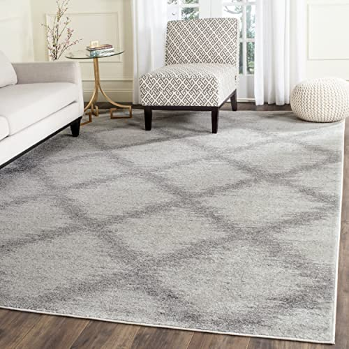 Safavieh Adirondack Collection ADR122B Ivory and Silver Modern Trellis Area Rug 8 x 10