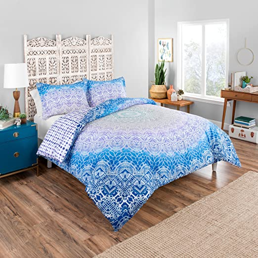 Amazon.com: Boho Boutique Sundial Comforter Set, Twin Extra Long, Blue: Home & Kitchen