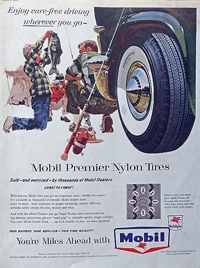 Amazon com : Mobil Premier Nylon Tires 50's Print Ad (father, son