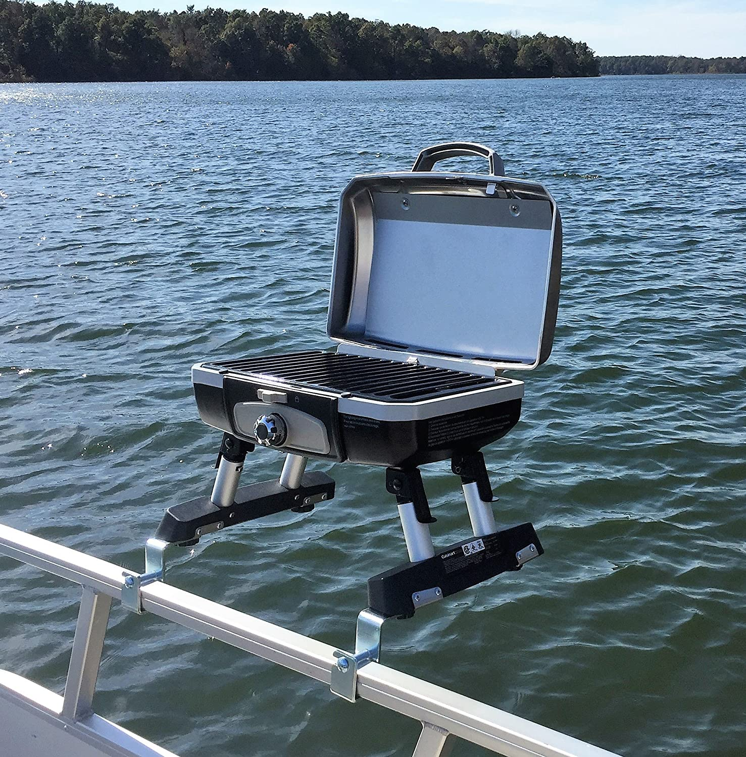 Extreme Marine Products Cuisinart Grill Modified for Pontoon Boat with Arnall s Stainless Grill Bracket Set Silver