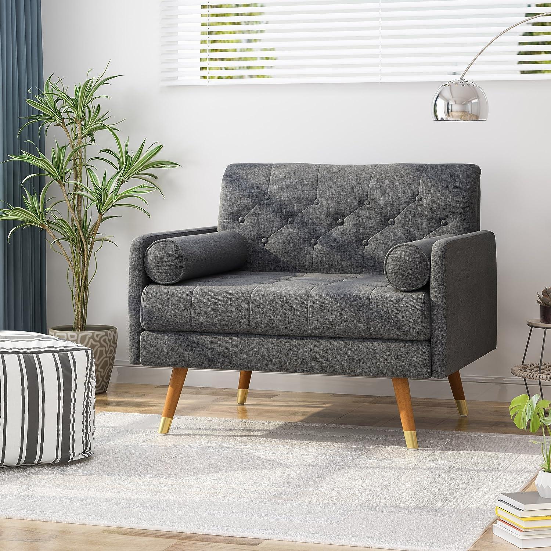Nour Fabric Mid-Century Modern Club Chair, Blue Great Deal Furniture