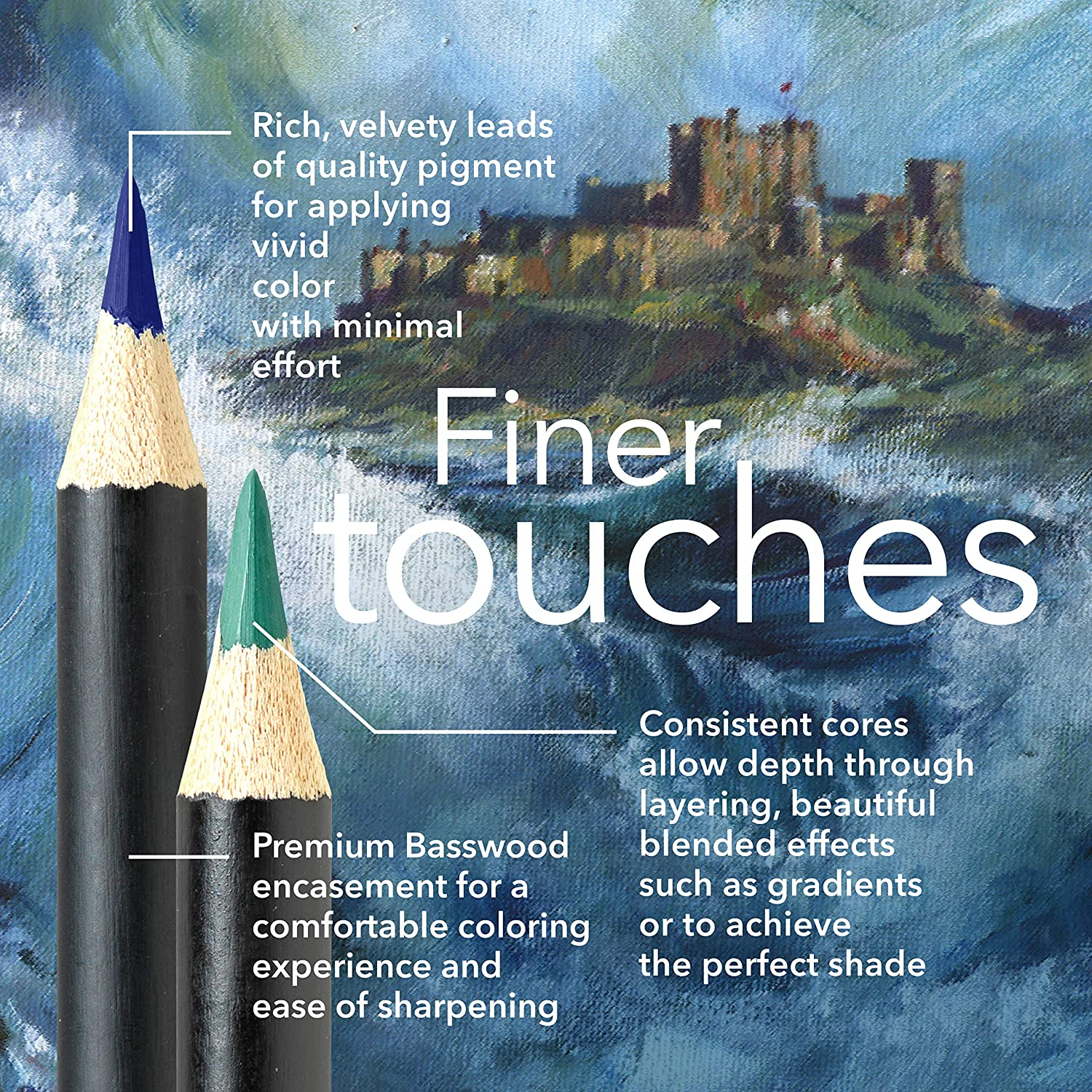 superior blending /& layering performance achieving great results smooth colored cores perfect colors for /'Landscapes/' Castle Arts Themed 24 Colored Pencil Set in Tin Box Featuring