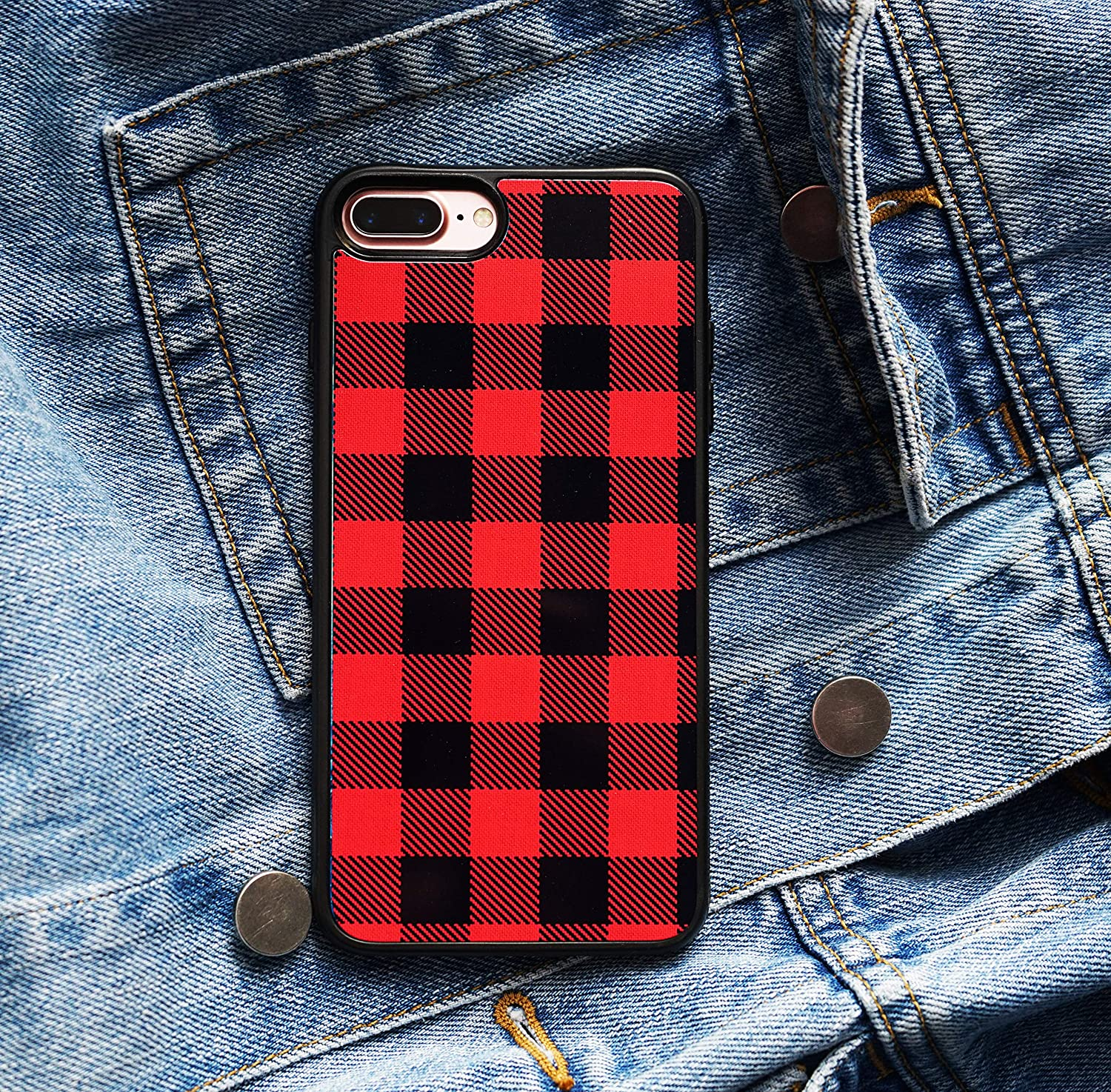 the best attitude b708d 4dbd7 Red Plaid Phone Case Compatible w/iPhone XR Case Xs Max 7 Plus 8 Plus 7 8  Models X/Xs (iPhone 7+/ iPhone 8+)