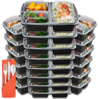 Meal Prep Containers 3 Compartment - Food Storage Container Set with Lids [Comparable to Tupperware ] and Cutlery - Thick BPA-Free Reusable Bento Lunch Boxes for Portion Control 21 Day Fix [20-Pack]
