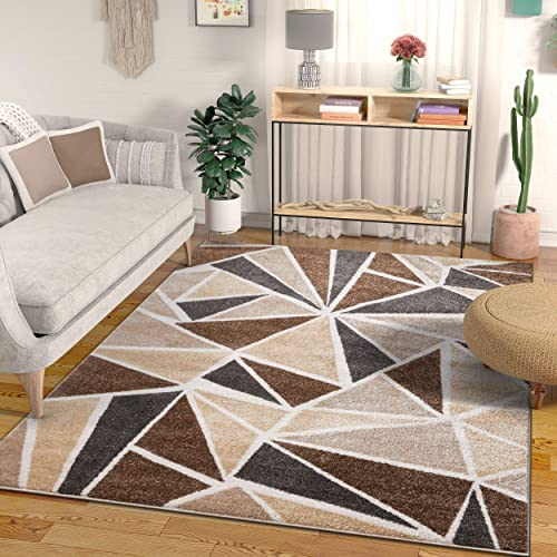 Well Woven Ventana Triangles Ivory Geometric Modern Abstract Lines Area Rug 8×11 7'10″ x 9'10″ Carpet