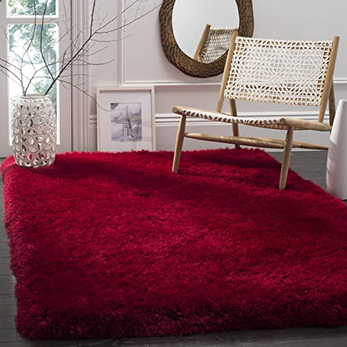 Safavieh Luxe Shag Collection SGX160E Handmade Red Polyester Area Rug 2 x 3
