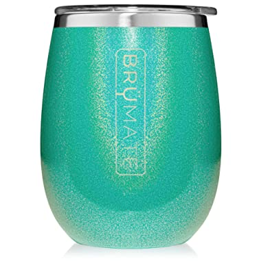 BrüMate Uncork'd XL 14oz Wine Glass Tumbler With Splash-proof Lid - Made With Vacuum Insulated Stainless Steel (Glitter Peacock)