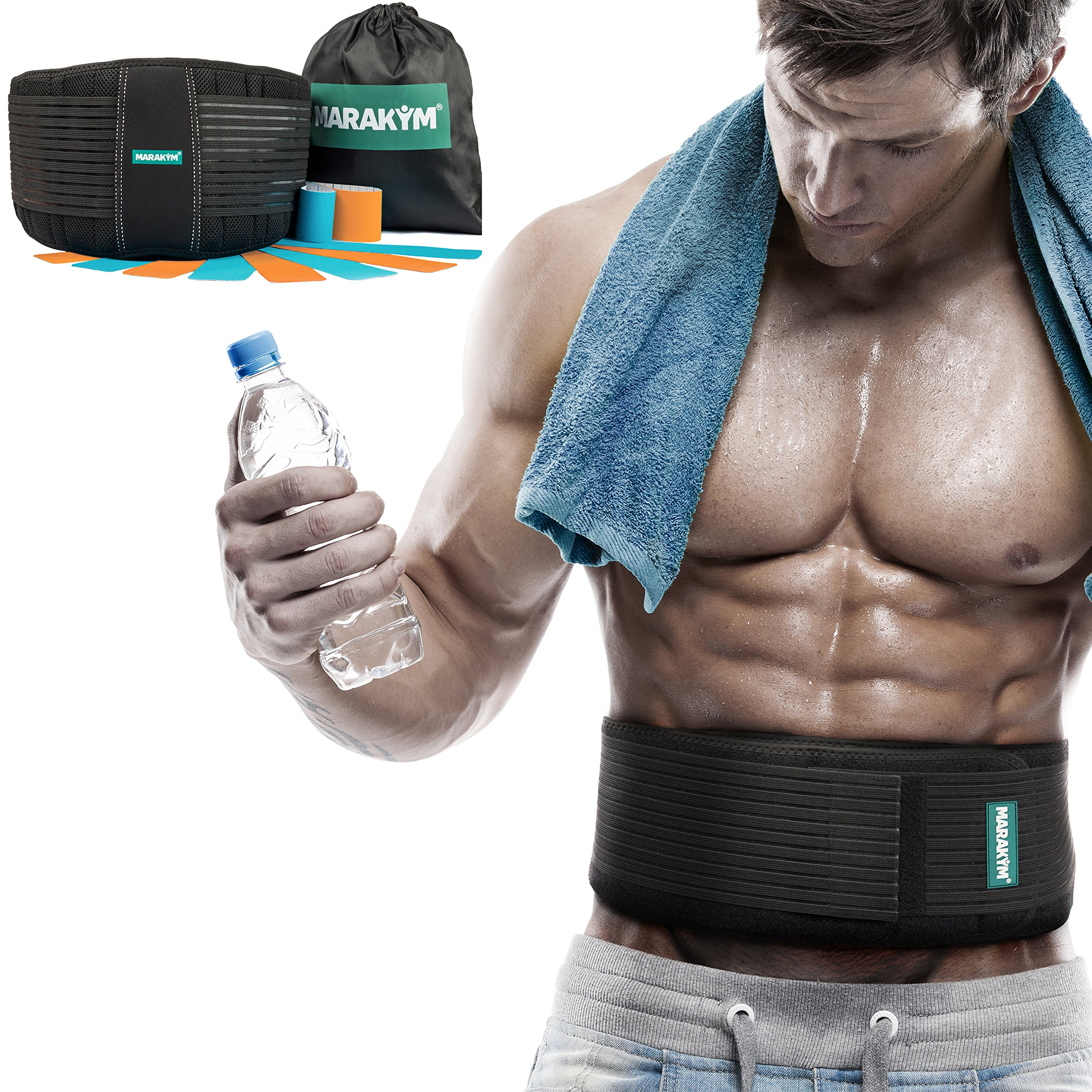 Marakym Back Brace-Lower Back Support Belt with Dual Adjustable Straps and Breathable Mesh Panels for Women and Men PLUS Kinesiology Tape and Carry Bag INCLUDED by (L/XL)