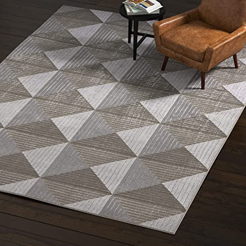 Rivet Contemporary Area Rug, 8 x 11 Foot, Grey and Taupe