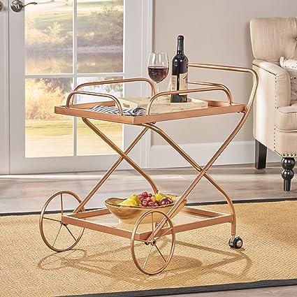 patty traditional iron and glass bar cart rose gold - Rose Gold Bar Cart