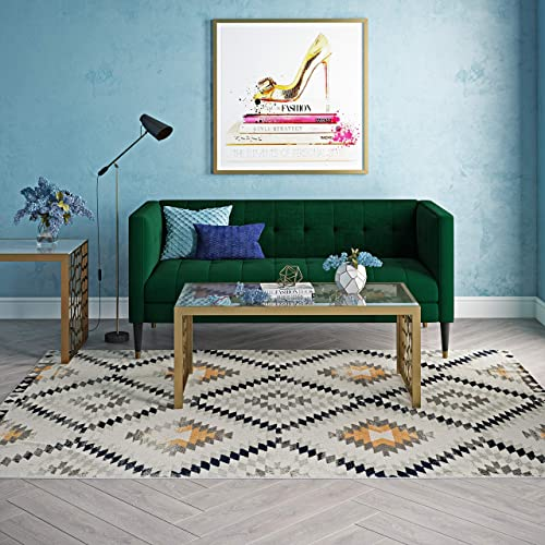 CosmoLiving by Cosmopolitan BR30A Area Rug, 8 9 x 12 , Kilim Gold