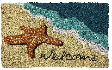 Amazon Com Entryways Starfish Welcome Hand Made Coir Doormat 18 X 30 Garden Outdoor