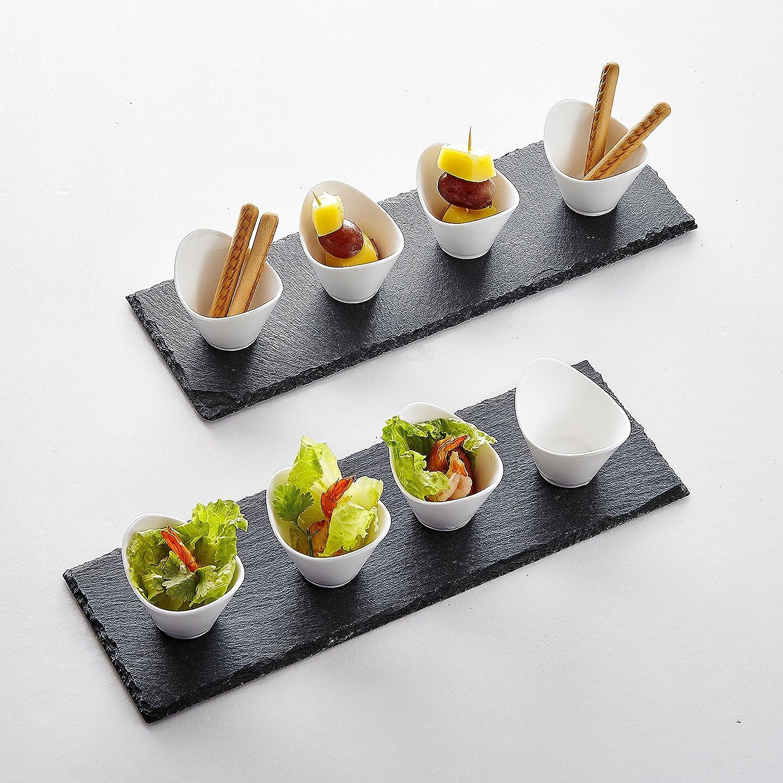 10 teilig set 2 schiefer platte schieferplatte mit 8 porzellan dessertsch lchen ebay. Black Bedroom Furniture Sets. Home Design Ideas