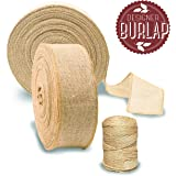 Burlap Ribbon Roll 50 YARDS with Bonus TWINE| Perfect Burlap Ribbons for Rustic Wedding Decorations, Baby & Wedding Showers, Tie-backs, Sashes, Wreaths, Bows, Gift & Tree Wrapping, Crafts.