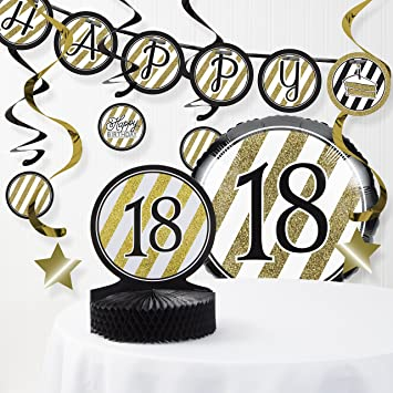 Amazon Black And Gold 18th Birthday Decorations Kit Health