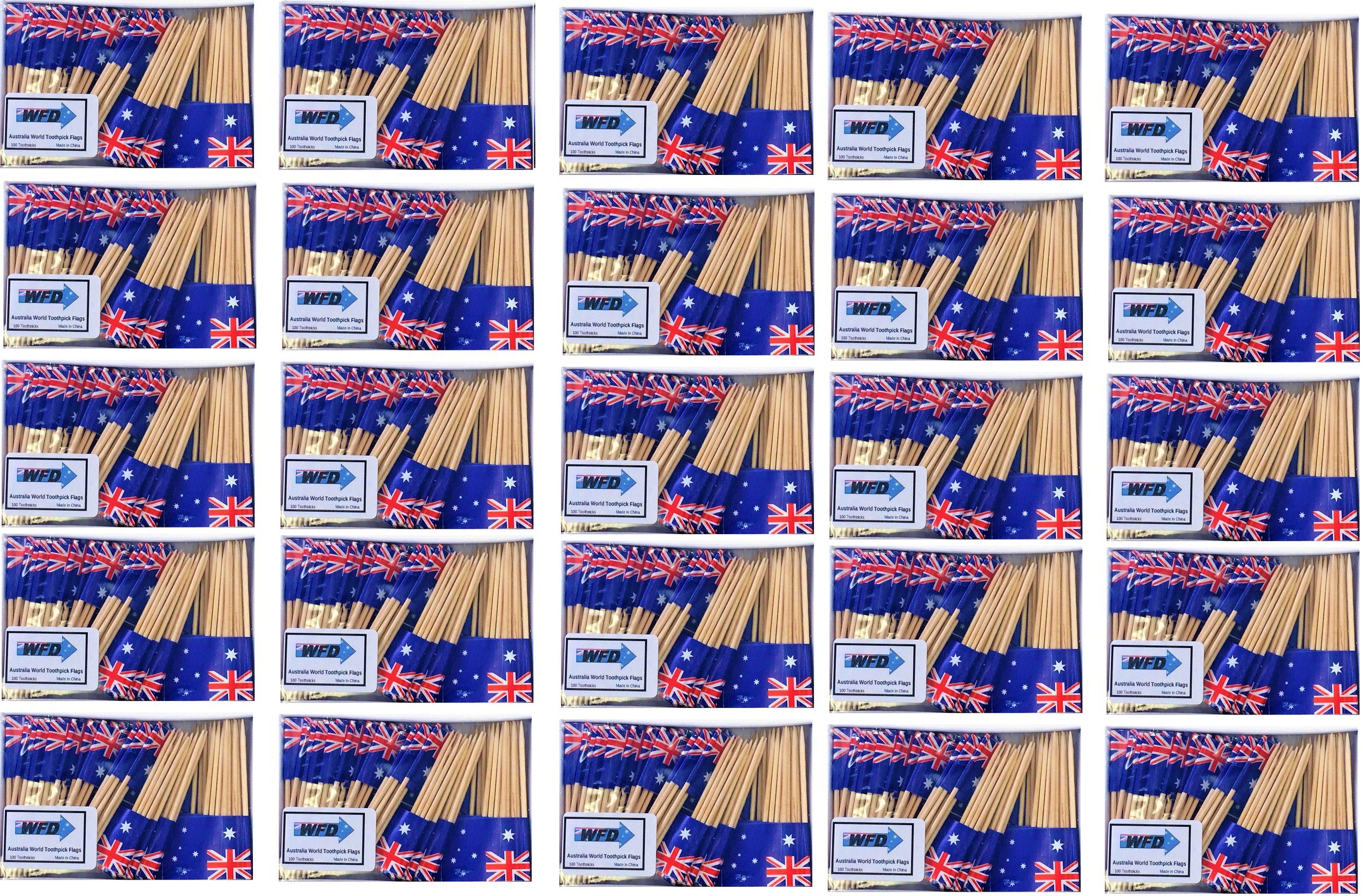 25 Box Wholesale Lot of Australia Toothpick Flags, 2500 Small Australian Flag Toothpicks or Cocktail Picks