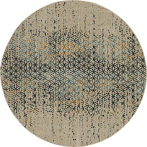 Unique Loom Chimera Collection Geometric Modern Abstract Vintage Beige Round Rug 6 0 x 6 0