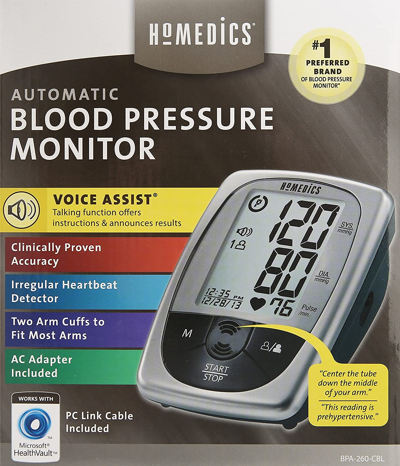 HoMedics BPA-260-CBL Automatic Blood Pressure Monitor, Gray: Amazon.es: Salud y cuidado personal