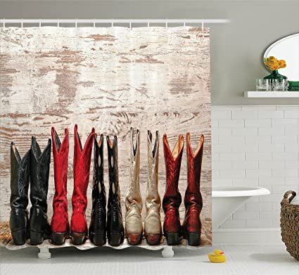 Ambesonne Western Decor Shower Curtain Set American Legend Cowgirl Leather Boots Rustic Wild West Theme