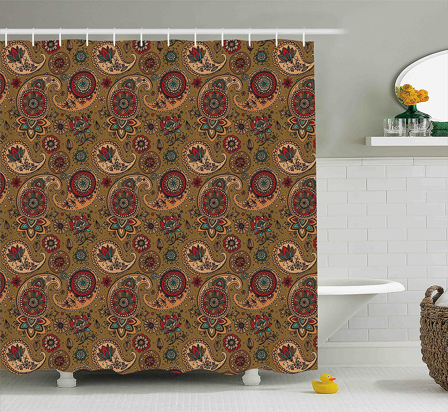 Vintage Inspired Multicolored Leaf Authentic Flower Motif in Earth Tones Print Ambesonne Paisley Shower Curtain 70 Inches Fabric Bathroom Decor Set with Hooks Multicolor